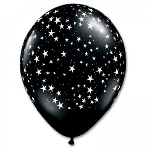 Balloon Single Black - White Stars