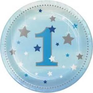 One Little Start Birthday Plates Blue - 8pk