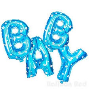 Foil Balloon Banner Blue