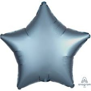 Foil Balloon Luxe Steel Blue Star