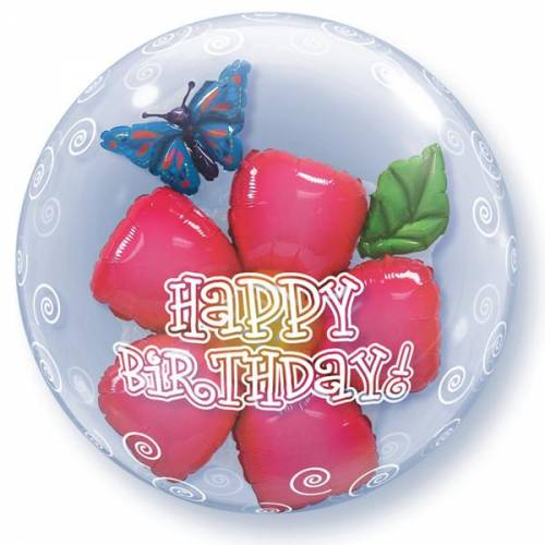 "Bubble Balloon 22"" Happy Birthday Flower"