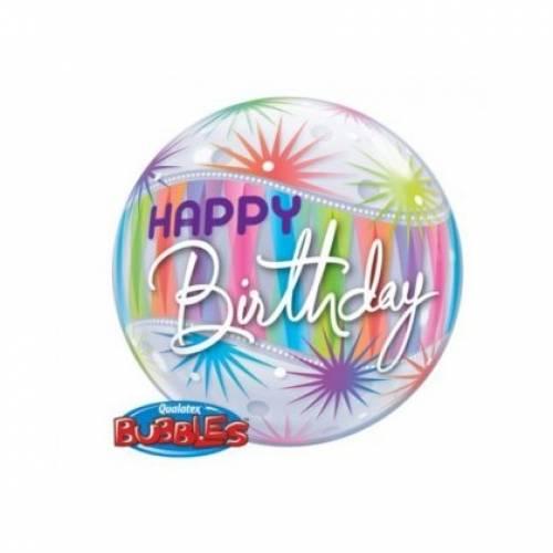 """Bubble Balloon 22"""" Happy Birthday Starblast"""