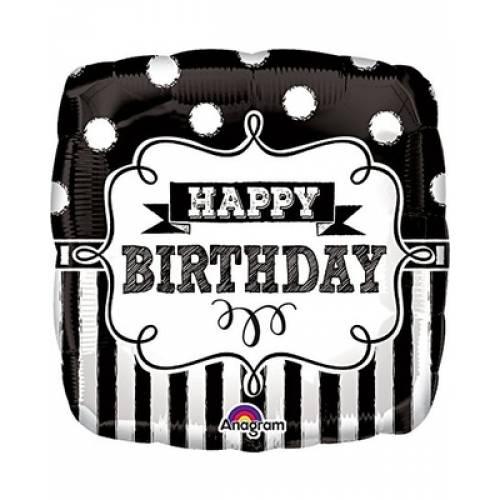 "Foil Balloon 18"" Happy Birthday - Black Chalkboard"