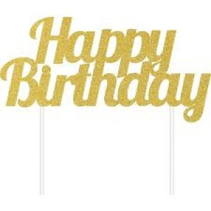 Cake Topper Happy Birthday Gold Glitter