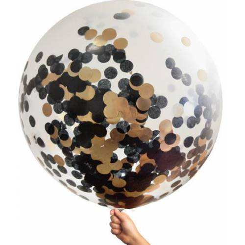 Large Single Confetti Balloon 90cm - Rose/black
