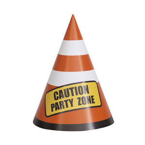 Construction Cone Party Hats 8pk
