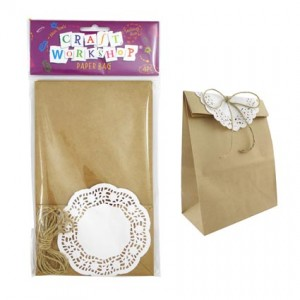 Brown Paper Gift Bag with Doilies 4pk