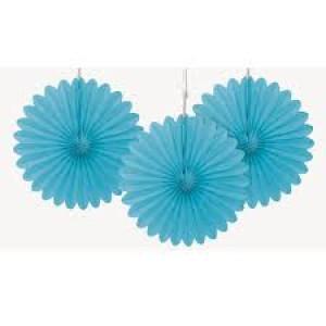 Tissue Paper Fans Pale Blue - 3 mini fans