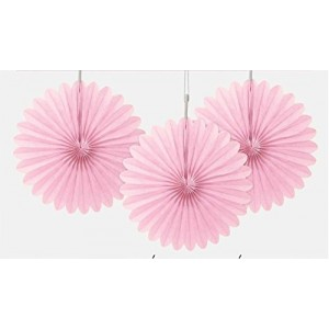 Tissue Paper Fans Light Pink - 3 mini fans