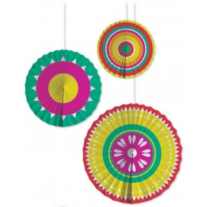 Fiesta Party Fans - 3 pack