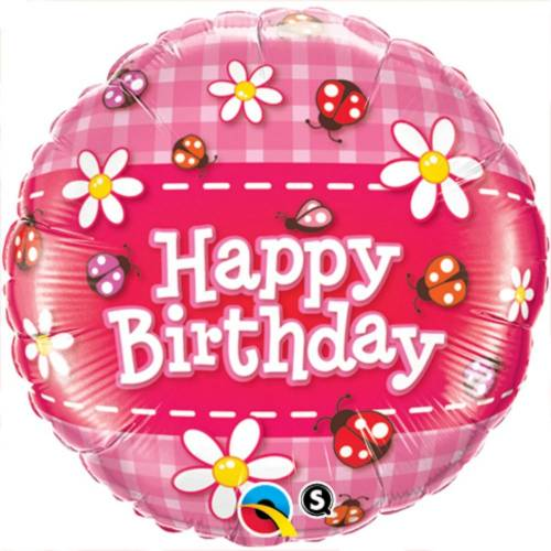 "Foil Balloon 18"" Happy Birthday - Ladybugs"