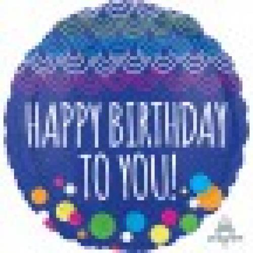 "Foil Balloon 18"" Happy Birthday to You - Scallop & Dots"