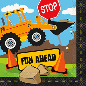 Construction Party 'Fun Ahead' Napkins 16pk
