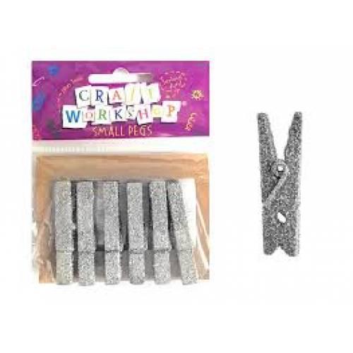 Glitter pegs - Silver 6pk