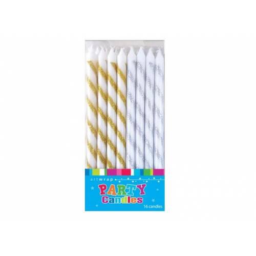 Candles Tall Glitter 16pk