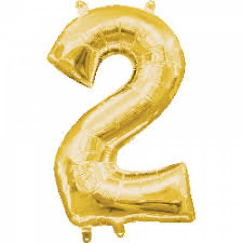 "Foil Balloon Number Gold ""2"""