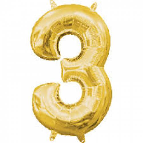 "Foil Balloon Number Gold ""3"""