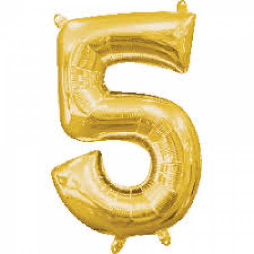 "Foil Balloon Number Gold ""5"""