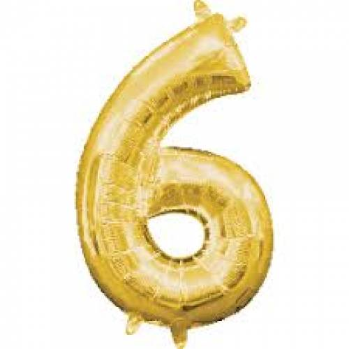 "Foil Balloon Number Gold ""6"""