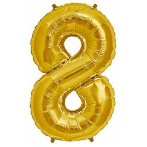 "Foil Balloon Number Gold ""8"""