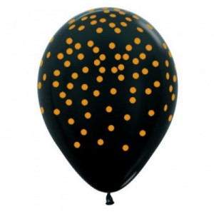 Balloon Single Black - Gold Confetti