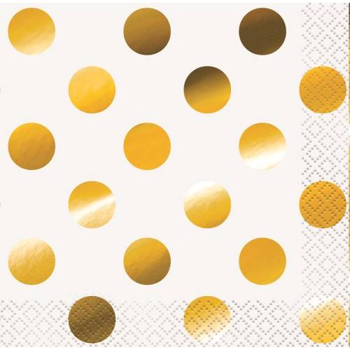 Beverage Napkins 16pk - Gold Dots