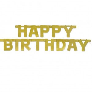 Happy Birthday Jointed Banner - Gold
