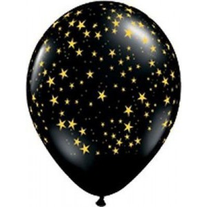 Balloon Single Black - Gold Stars
