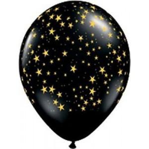 Balloon Single Black - Gold Stars