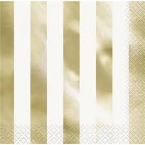 Lunch Napkins 16pk - Gold Stripe