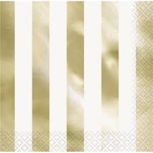 Lunch Napkins 16pk - Gold Stripe