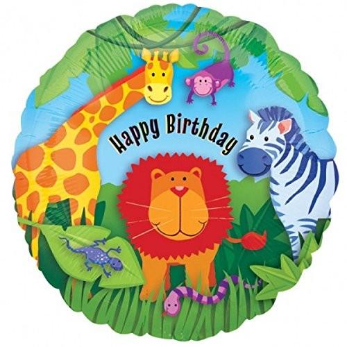 "Foil Balloon 18"" Happy Birthday - Lion & Friends"