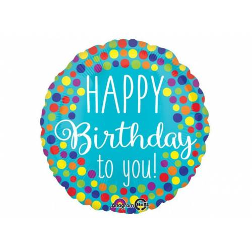 "Foil Balloon 18"" Happy Birthday to You - Dots"