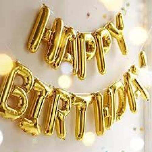 "Foil Balloon ""HAPPY BIRTHDAY"" Banner Gold *Air fill only*"