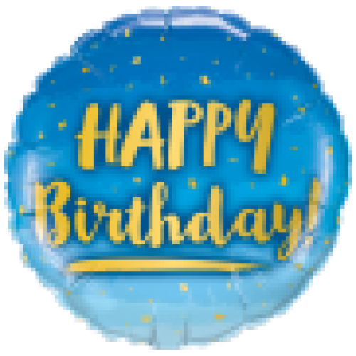 "Foil Balloon 18"" Happy Birthday - Blue & Gold"