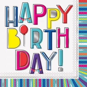 Colorful Birthday Napkins 16pk