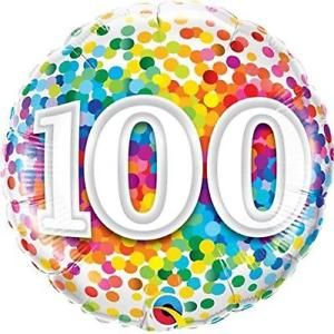Foil Balloon 100th Birthday - Confetti