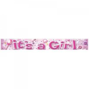 Pink It's A Girl Banner
