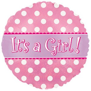 Foil Balloon It's a Girl Polka Dots