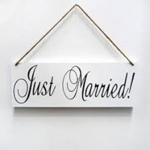 Just Married Sign - Wooden