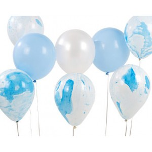 Party Balloons 6pk - Blue Marble Mix