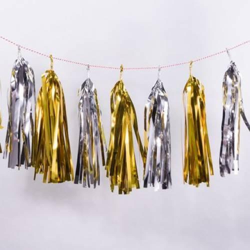 Gold & Silver Tassel Garland - 30 tassels