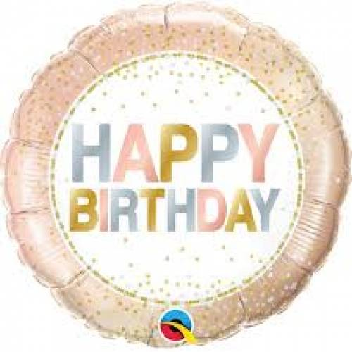 "Foil Balloon 18"" Happy Birthday - Metallic Dots"