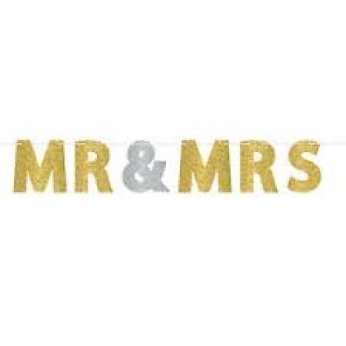 Mr & Mrs Glitter Letter Banner