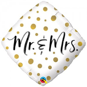 Foil Balloon Mr & Mrs Gold Dots