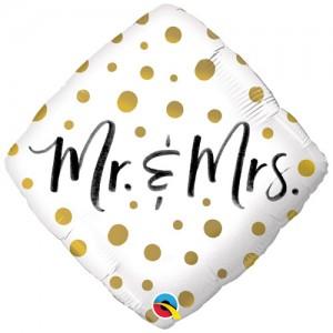 Foil Balloon Mr & Mrs Gold Dots
