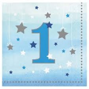 One Little Star Napkins 16pk Blue