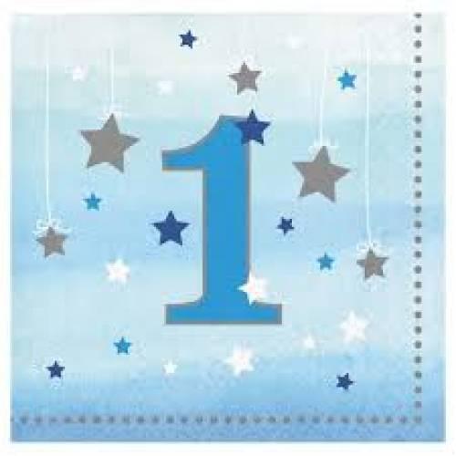 One Little Star Napkins 16pk Blue