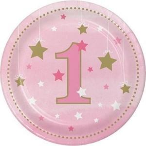 One Little Star Birthday Plates Pink - 8pk