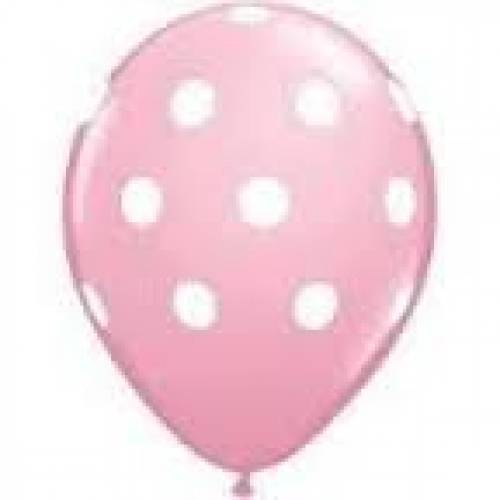 Party Balloons 10 pk pink with white spot